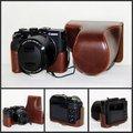 New retro vintage pu de couro bolsa de caso para câmera digital canon powershot g3x café cor marrom preto