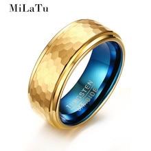 MiLaTu 2017 Новый Полигон Tungsten Carbide Ring Для Мужчин Обручальные кольца Синий и Золотой цвета Обручальное Кольцо отца день Подарков R690G