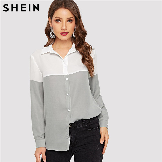 3cee0382c9 SHEIN Weekend Casual Stitching Long Sleeve Shirt Women Plaid Autumn Two  Tone Button Up Shirt Minimalist Blouses