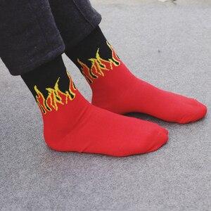 Носки унисекс в стиле Харадзюку, красные и желтые носки с пламенем, уличные носки в стиле хип-хоп, панк, хлопковые носки без пятки для мужчин и женщин