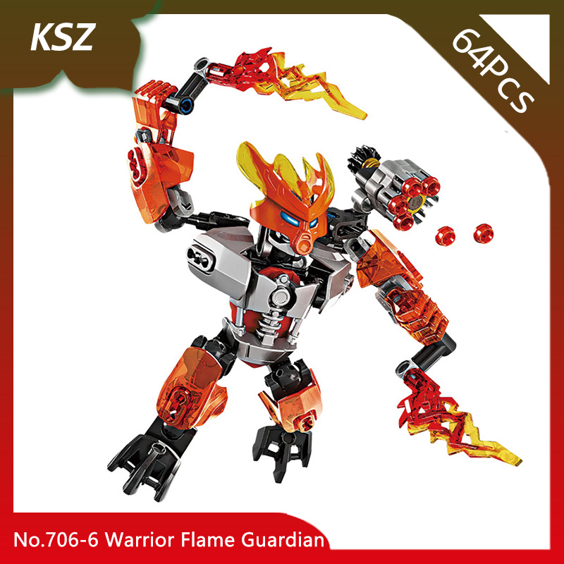 Bevle Store KSZ 706-6 64Pcs BIONICLE Series Warrior Flame Guardian Model Building Blocks Bricks with Children Toys 70783