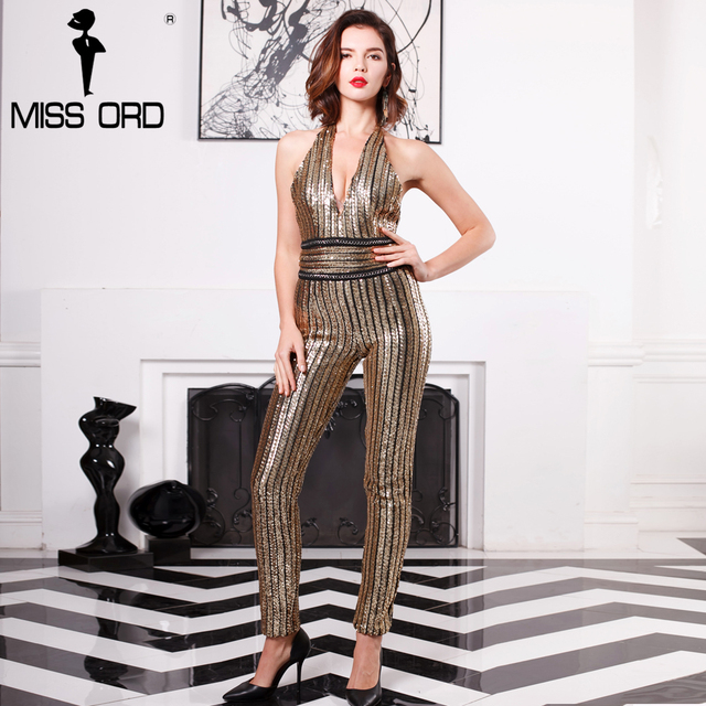 Missord 2017 Sexy Deep-V sleeveless strapless halter backless sequin jumpsuit FT4998
