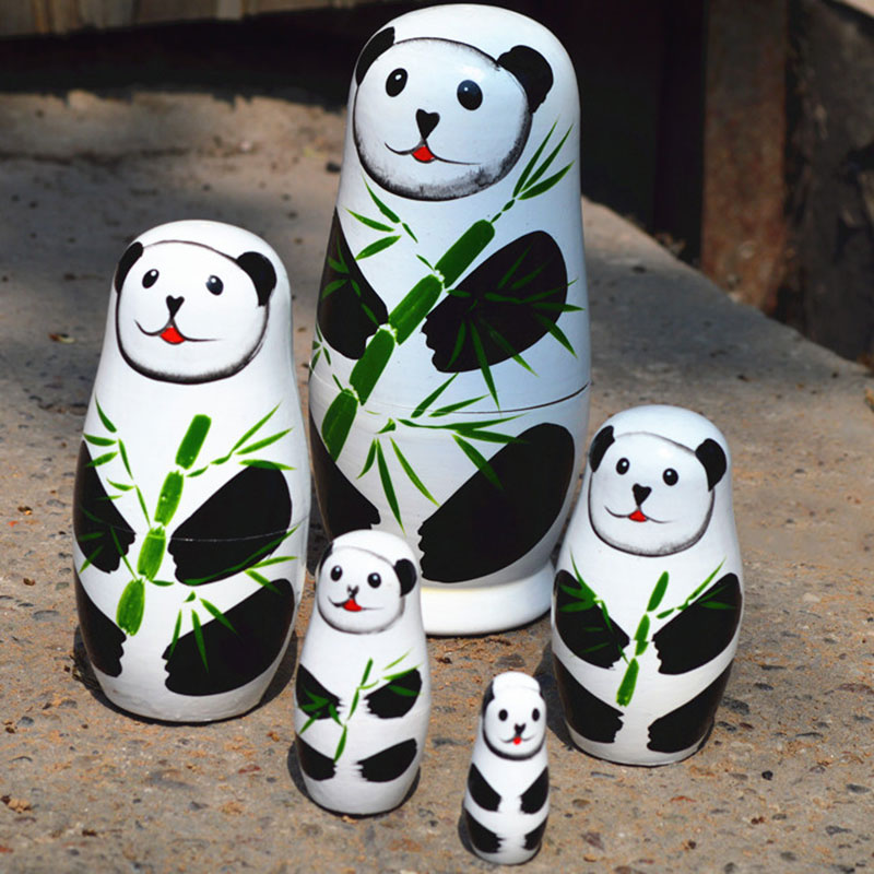 2016 5pcsset Matryoshka Russian Doll Panda Dolls Hand Painted Wooden Toys Chinese Handmade Craft Gift DC112