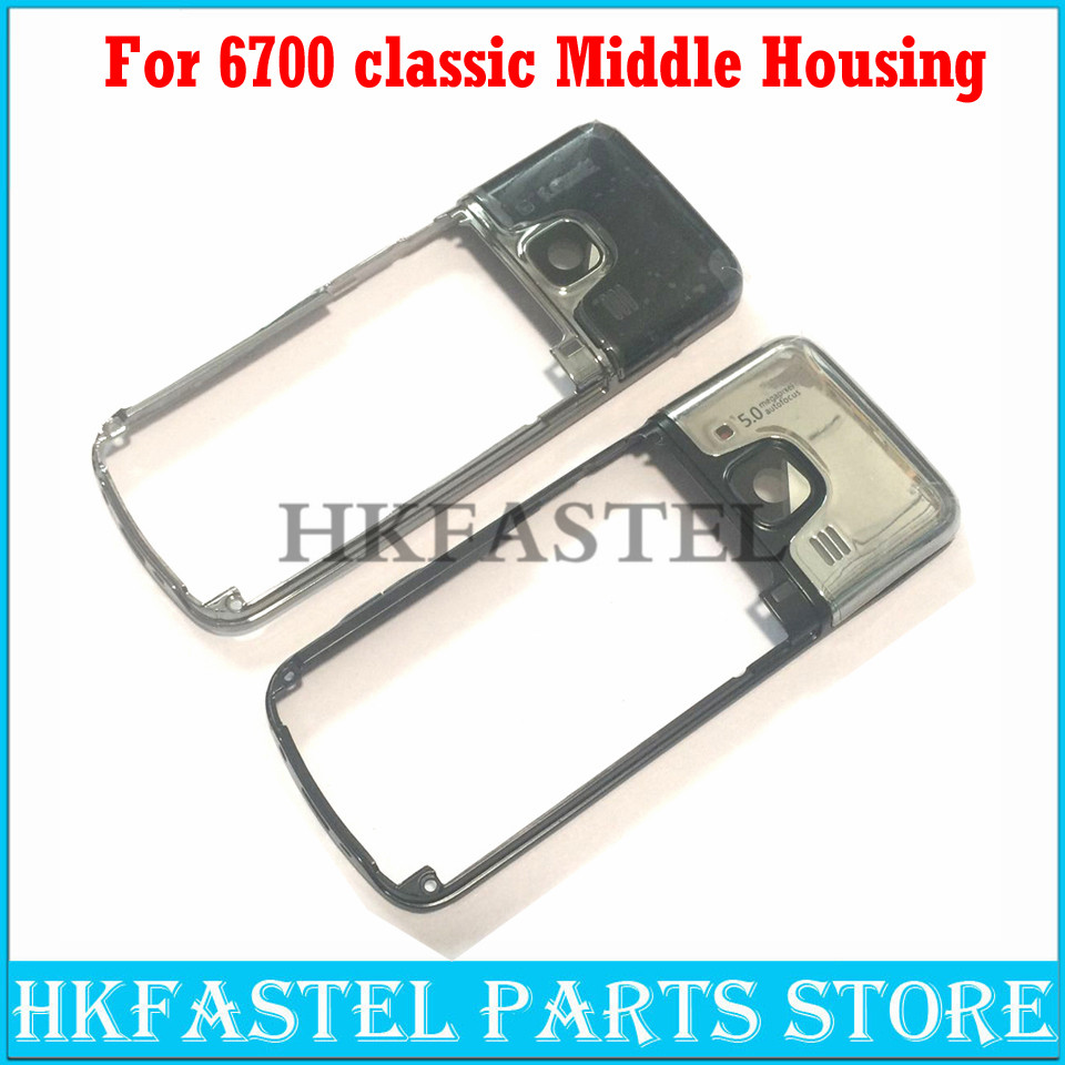 HKFASTEL Housing For Nokia 6700 Classic 6700c Mobile Phone Middle Frame Cover Case With Camera Lens Replacement Repair Parts