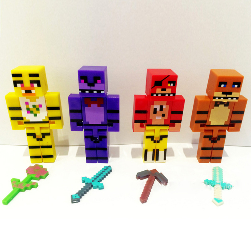 4pcs/set Minecraft Five Nights At Freddy's 4 FNAF Foxy Chica Bonnie Freddy Action Figures Kid Toy Children Christmas Gift