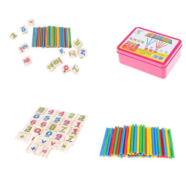 Baby Early Learning Wooden Numbers Stick Mathematics Counting Math ...
