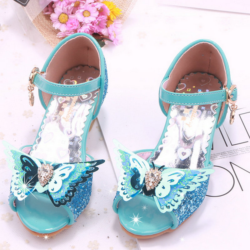 9d22c03ffd5 US $17.06 25% OFF|girl shoes kids dress shoes kids girls sandals high heel  children shoes summer princess sandal butterfly wedding party shoes-in ...