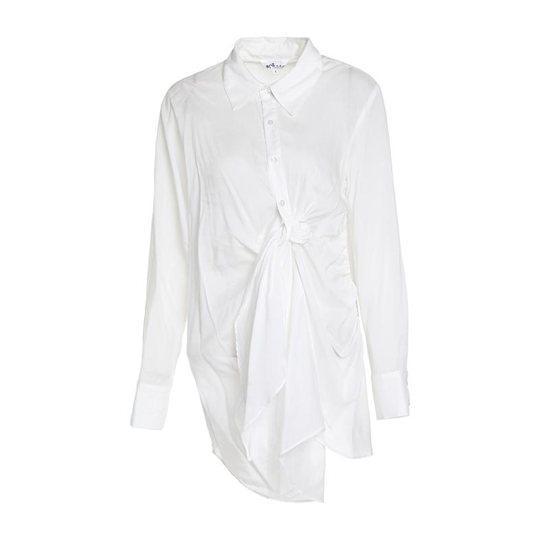 Blouse Dames Top Getsring Avec Noeud white Transparent Asymétrique Longues Coton Chemises Blanc Manches Blue Chemise souris Femmes Chauve Peacock Irrégulière 0wCxw8qB