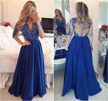 Blau langarm-prom dresses 2017 chiffon-eine line vestidos de festa Spitze Applique Sheer Zurück Abschlussball-kleider mit Bänder Bow