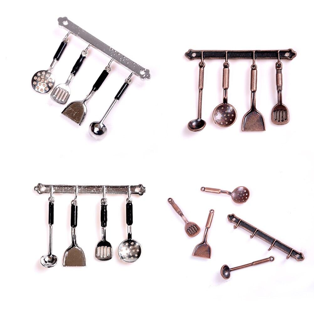 5pcs 1:12 Doll House Miniature Metal Kitchenware Bronze Dollhouse Model Cook Set Classic Kitchen Supplies Parts Toys Hobbies New