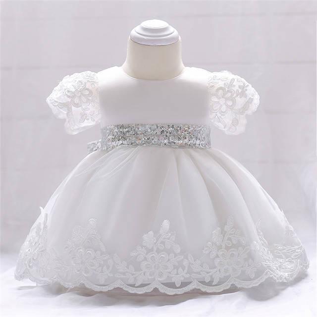 Vestido De Bautizo Para Niña 1 Vestido De Cumpleaños Niñas Infantes 2 Años De Fiesta Bordado Encaje Blanco Vestido Ropa De Bebé Recién Nacido