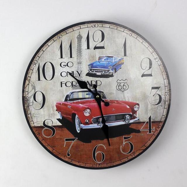 Home Deco Retro Car Printed Wall Clock 35mm Round Wood Silent No Ticking Vintage Clocks