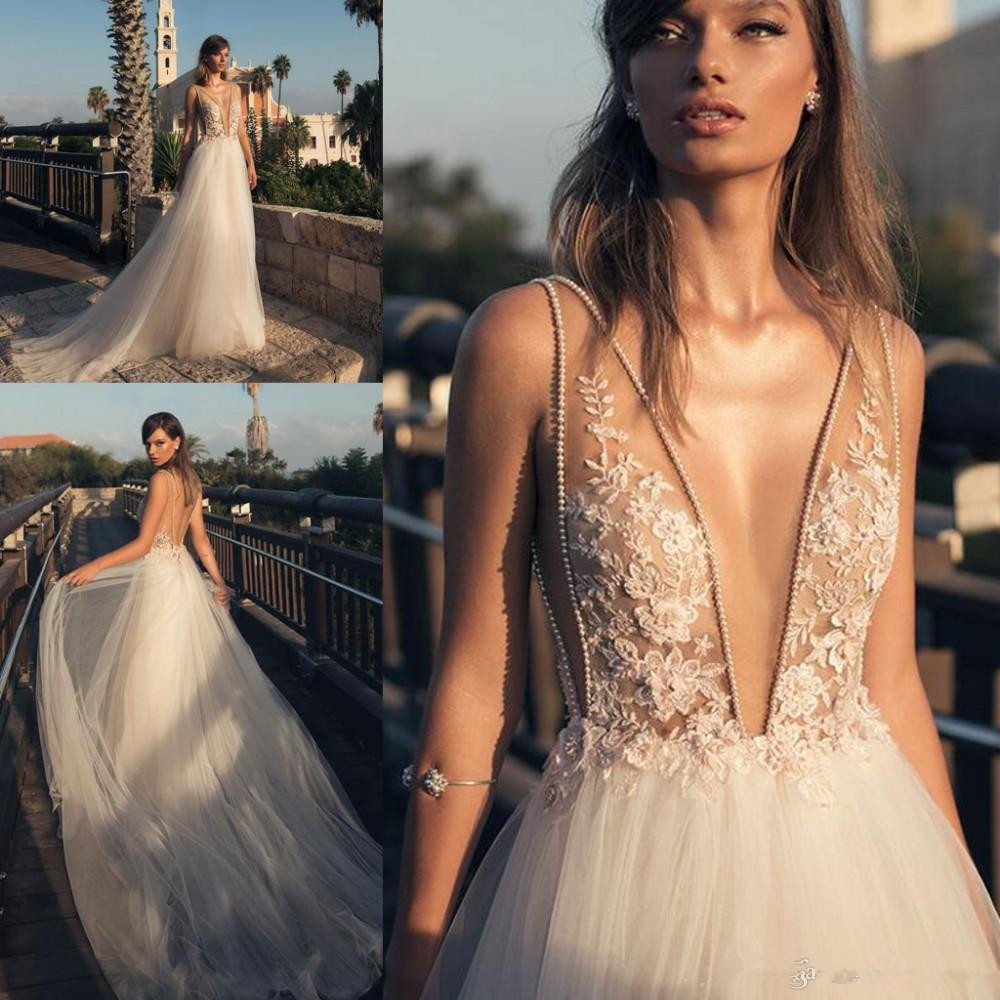 Boho Country Style Sexy  Dresses Deep V Front And Back Beaded Lace Appliqued Tulle Long Bridal Gown New Style Custom