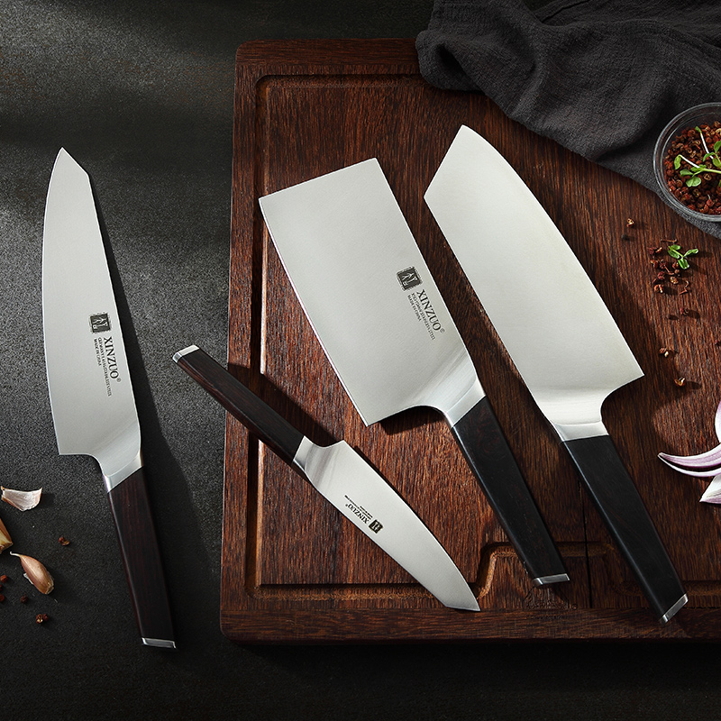 XINZUO 4 PCS Kitchen Knives Set Stainless Steel  Professional Cooking Chef Bone Chopper Cleaver Meat Utility Knife Ebony HandleXINZUO 4 PCS Kitchen Knives Set Stainless Steel  Professional Cooking Chef Bone Chopper Cleaver Meat Utility Knife Ebony Handle