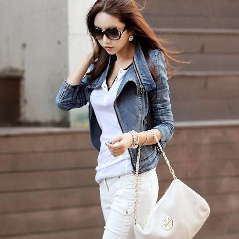 2017 New Women Autumn Denim   Jackets   Long Sleeve   Basic   Coats Vintage Slim Blue Short Turn-down Collar Casual Denim   Jacket
