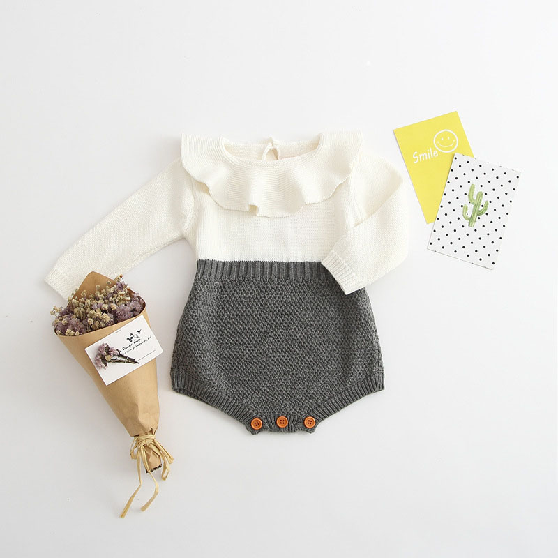Autumn Spring Baby Girl Knit Romper Peter Pan Collar Baby Rompers Long Sleeves Infant Jumpsuit Baby