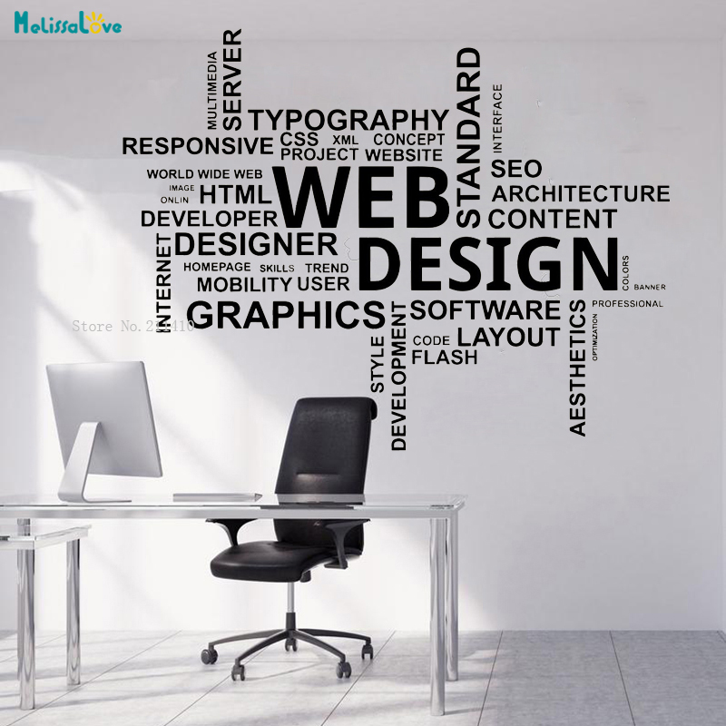 Web Design Office Wall Sticker Decals Word Quote Business Inspirational Decor Team Work Art Poster Self Adhesive Murals Yt1249 Wall Stickers Aliexpress
