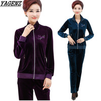 YAGENZ Middle aged Women Sporting Suit Spring Gold Velvet 2 Pieces Set Sportswear Casual Large size Sweatshirts Clothing Set