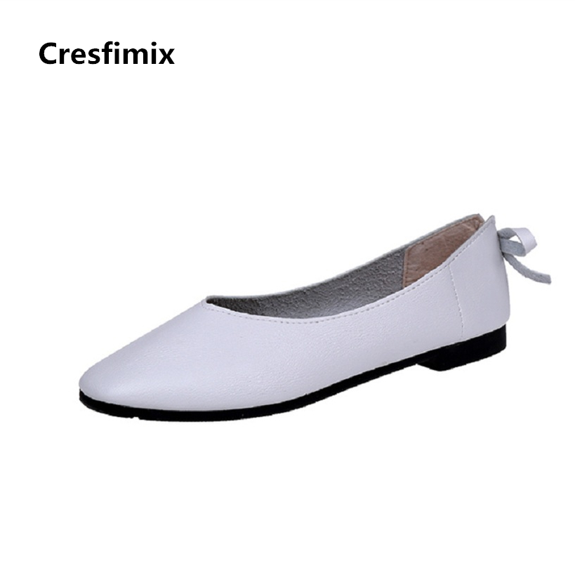 Cresfimix sapatos femininas women retro white slip on flat shoes lady casual round toe spring flats female cute solid shoes cresfimix sapatos femininos women casual soft pu leather pointed toe flat shoes lady cute summer slip on flats soft cool shoes