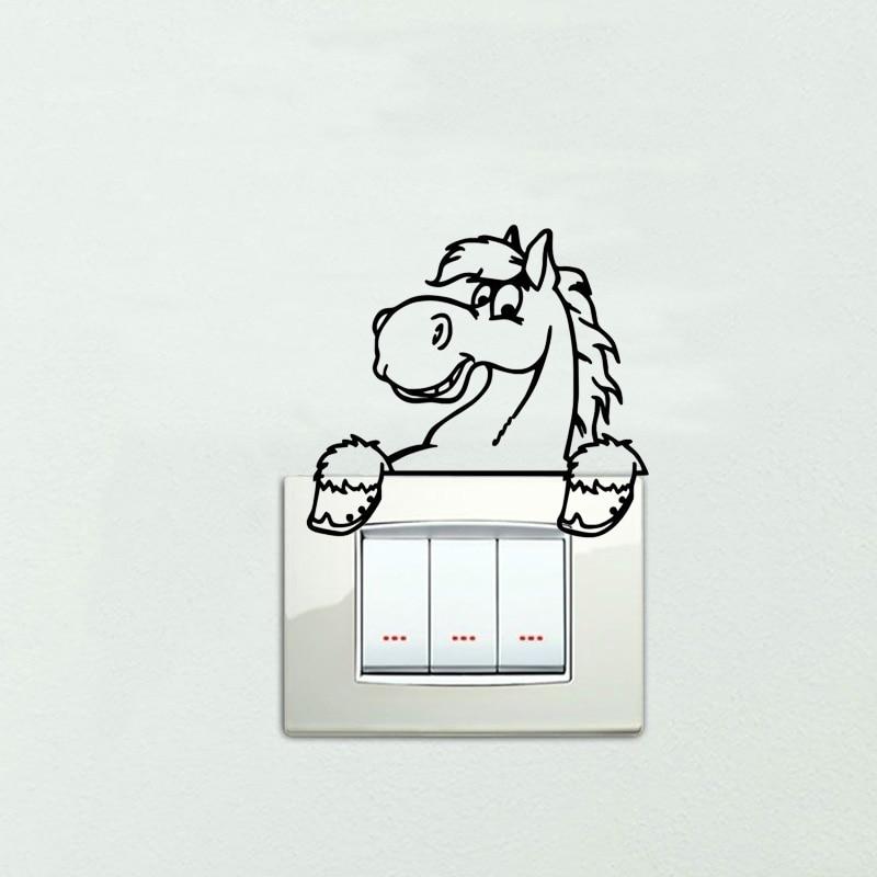 ᐊLindo caballo ecuestre familia interruptor etiqueta divertida ...