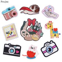 Prajna Camera Embroidered Patch Starfish Squirrel Crown Flying Dog Iron ON Clothing Deer Little Duck Unicorn Stickers For Jeans(China)