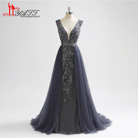 Liyatt 2018 New Arrival Formal Evening Dresses Mermaid Deep V Neck Open Back Beading Tulle Long