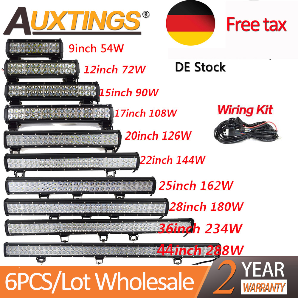 Auxtings Wholesale 6pcs/Lot 4/7/9/12'' 15'' 17'' 20''23'' 25'' 28' 36'' 44'' Inch Led Light Bar 12V 24V Led  Work Light DE Stock