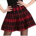 Primavera Faldas de Las Mujeres 2017 Otoño Nuevo Diseño de Moda de Alta Cintura Corta Mini Plisada de Lana Faldas de Tela Escocesa de Las Mujeres