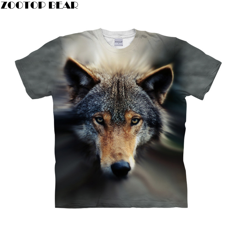 Wolf <font><b>dog</b></font> shirt 3d t-shirt Men <font><b>tshirt</b></font> <font><b>Unisex</b></font> Tee Printed Top Anime Camiseta Short Sleeve Tee Fashion Top Drop Ship ZOOTOP BEAR image