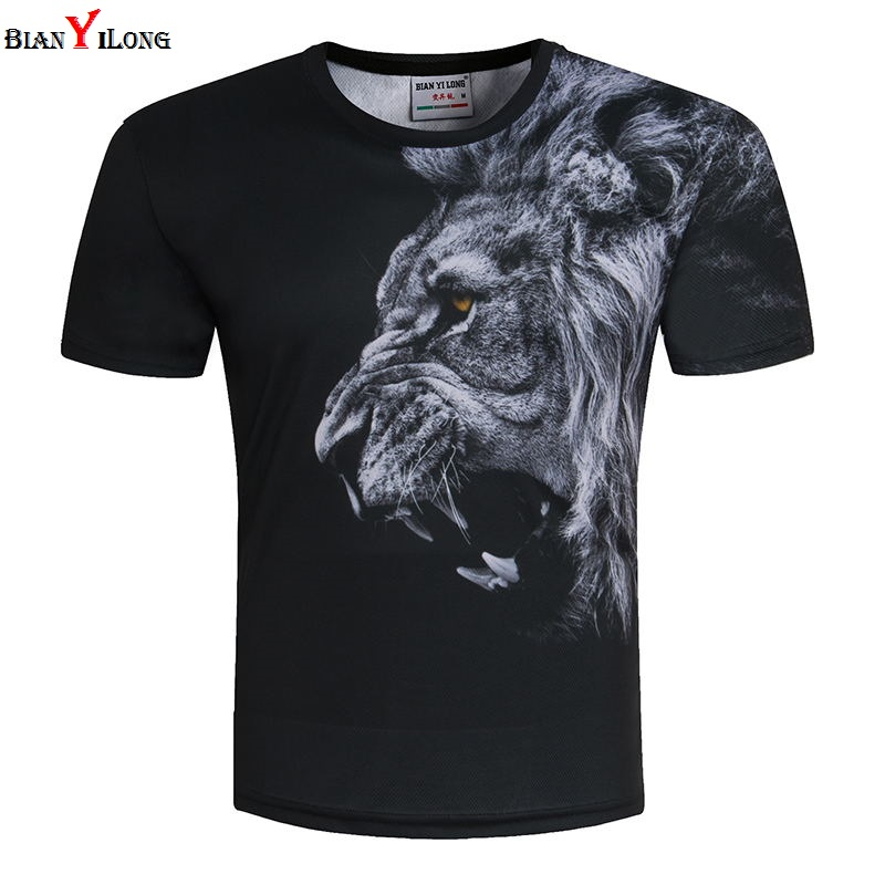 New Fashion Men/Women Domineering Lion T-shirt 3d lion Print Designed Stylish Summer T s ...