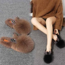 Real Raccoon Fur Slippers Women Sliders Casual Fox Hair Flat Fluffy Fashion Home Summer Big Size 45 Furry Flip Flops Shoes women s fashion monster slippers real raccoon fur slides fox fur sliders luxury style shoes s6026