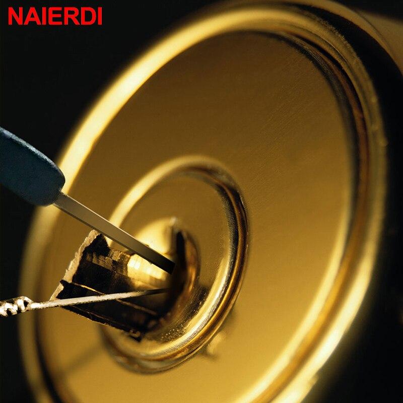 Купить с кэшбэком NAIERDI Locksmith Tools Supplies Stainless Steel Wrench Hand Tool Removal Hooks Lock Extractor Lock Pick Set Furniture Hardware