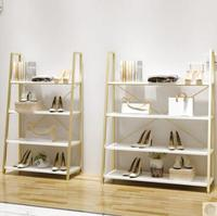 Clothing store shoe rack bag storage display bag shop display cabinet multi layer sale shoes gold shelf