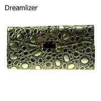 3 Fold Genuine Leather Long Women Stone Wallet Metal Hasp Cellphone Pocket Female Clutch Billeteras Mujer