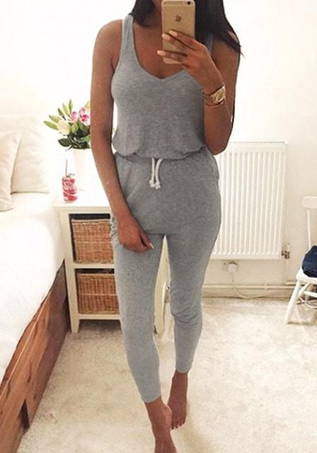 2018 Summer Low Cut Rompers Womens Jumpsuit Black Elastic Waist Sleeveless Long Pants Playsuit Strap Pocket Female Overalls