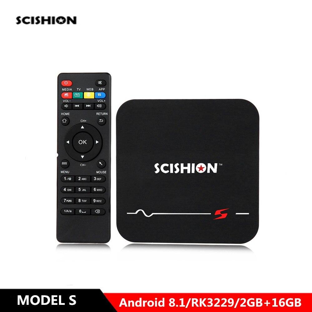 SCISHION MODEL S Android 8.1 4k Smart TV Box RK3229 Quad Core 2G RAM 16GB ROM Media Player 2.4GHz WiFi 100Mbps Set Top Box