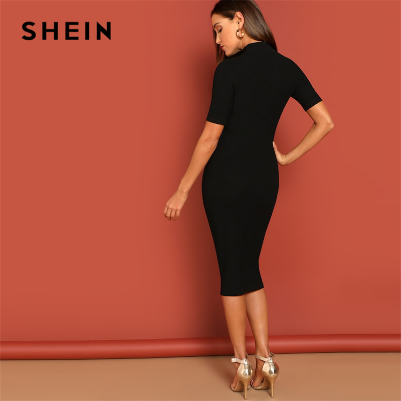 Shein Black Mock Neck Bodycon Dress Women's Dresses Women's Shein Collection