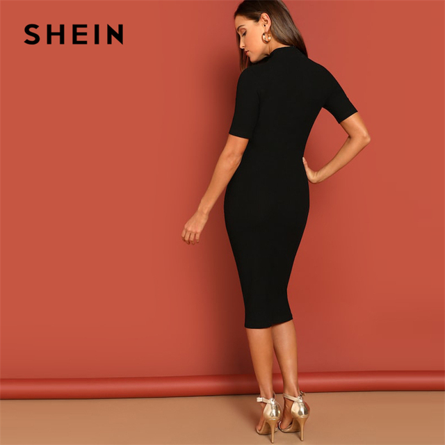 Black Mock Neck Rib-knit Pencil Stretchy Knee Length Bodycon Dress