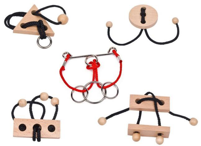 Metal Wooden Rope Puzzle Logic Mind Brain Teaser String Loop Rings Puzzles Game Toys For Adults Children