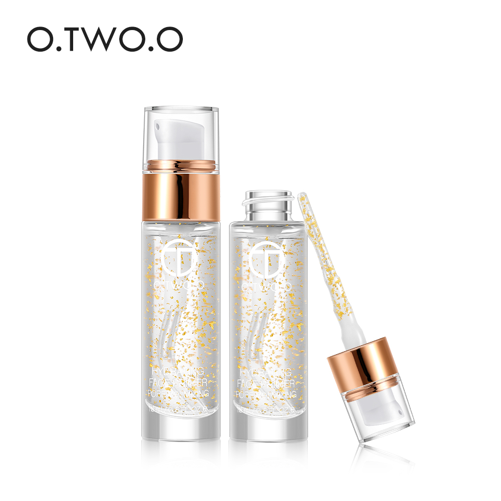 O. TWO. O profesional 24k oro rosa Elixir imprimación de maquillaje hidratante antiedad cuidado de la cara aceite esencial maquillaje Base líquido 18ml