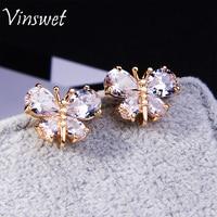 Vinswet New Arrival Big Zircon Earrings Crystal Rhinestone butterfly Stud Earrings For Woman Anniversary Animal Jewelry