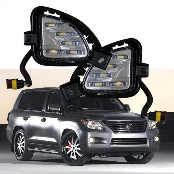 ФОТО Hireno Super-bright LED Daytime Running Light for Lexus LX570 LX460 2007 2008 2009 Car LED DRL fog lamp 2PCS