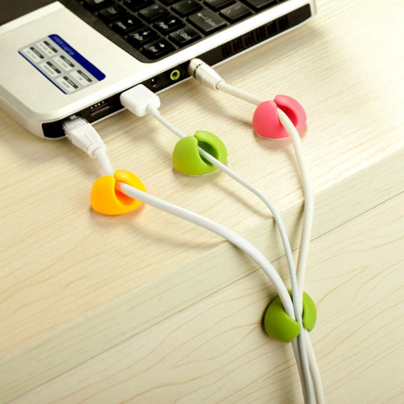 6 Pcs Cable Holder Protector Management Device Organizer Finishing Desktop Plug Silicone Wire Retention Clips Power Cord Winder in Cable Winder from Consumer Electronics