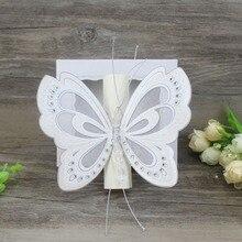 50 шт. прокрутки свадебные пригласительные карты элегантный белый розовый Бабочка Дети День рождения приглашения 3D всплывающие карты с коробкой