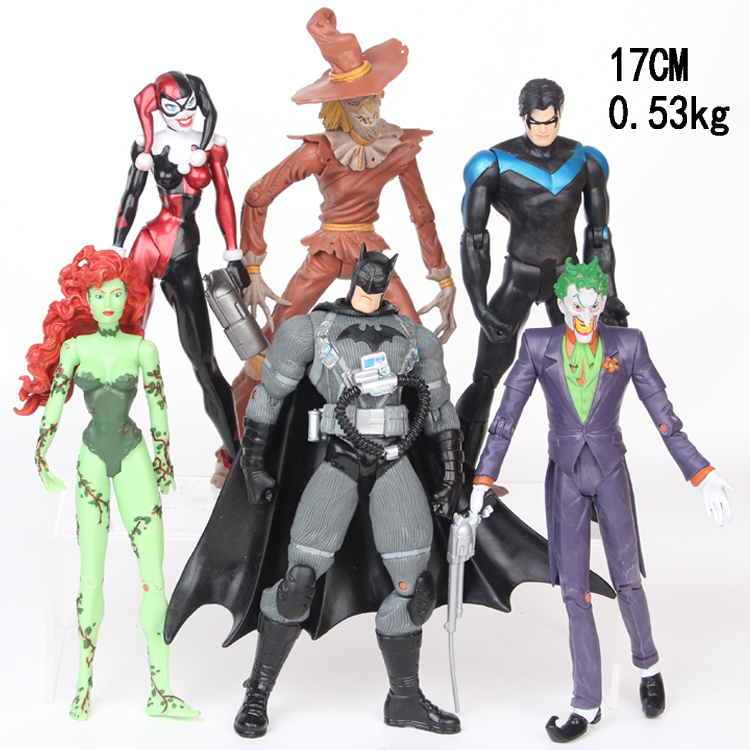 NEW hot 17 m 6 pz/set Justice League Joker Batman Harley Quinn Spaventapasseri Dick Grayson Poison Ivy action figure giocattoli natale