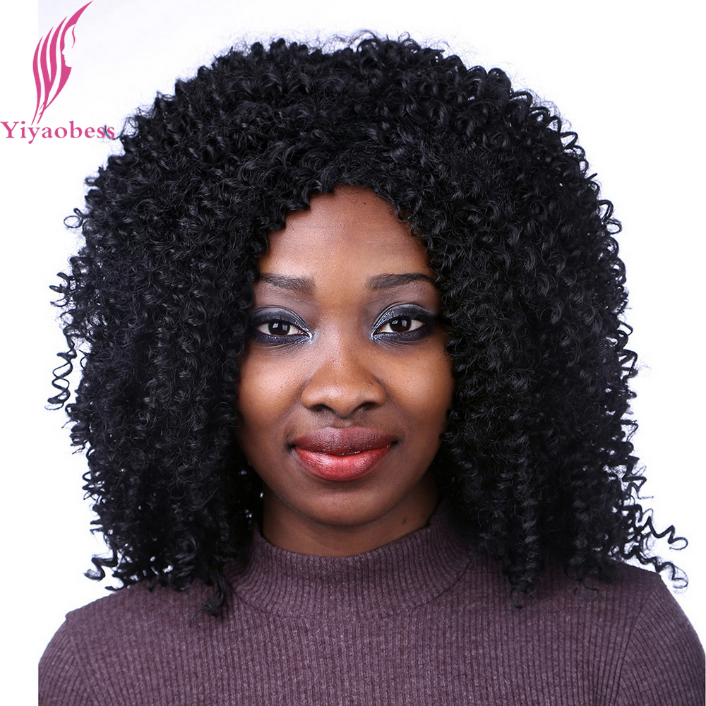 Yiyaobess 40cm Black Red Afro Kinky Curly Wig Synthetic Hair African American Medium Long Wigs For Women High Temperature Fiber