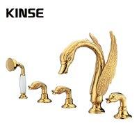 Роскошные ванна кран на бортике латуни душ с осадков ручной душ провести животных Лебедь Форма Золото поверхности смесители