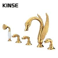 Bồn Tắm sang trọng Vòi Sàn Mounted Brass Vòi Hoa Sen Set Với Lượng Mưa Hold Hand Tắm Động Vật Swan Shape Bề Mặt Vàng Vòi