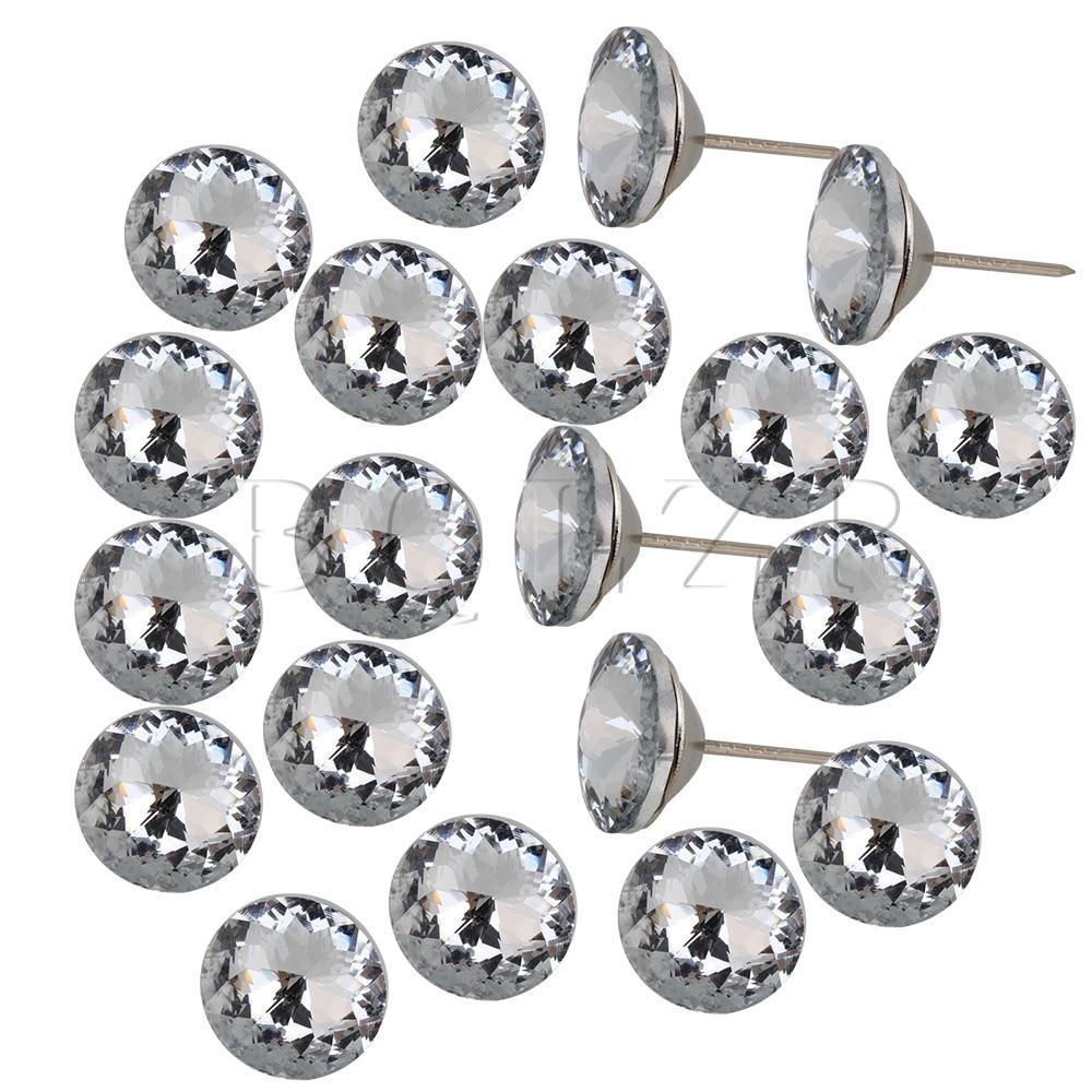 Bqlzr Zilver En Wit 25mm Dia Sparkly Crystal Bekleding Sofa Hoofdeinde Knoppen Nails Muur Decor Pack Van 20 Complete Reeks Artikelen