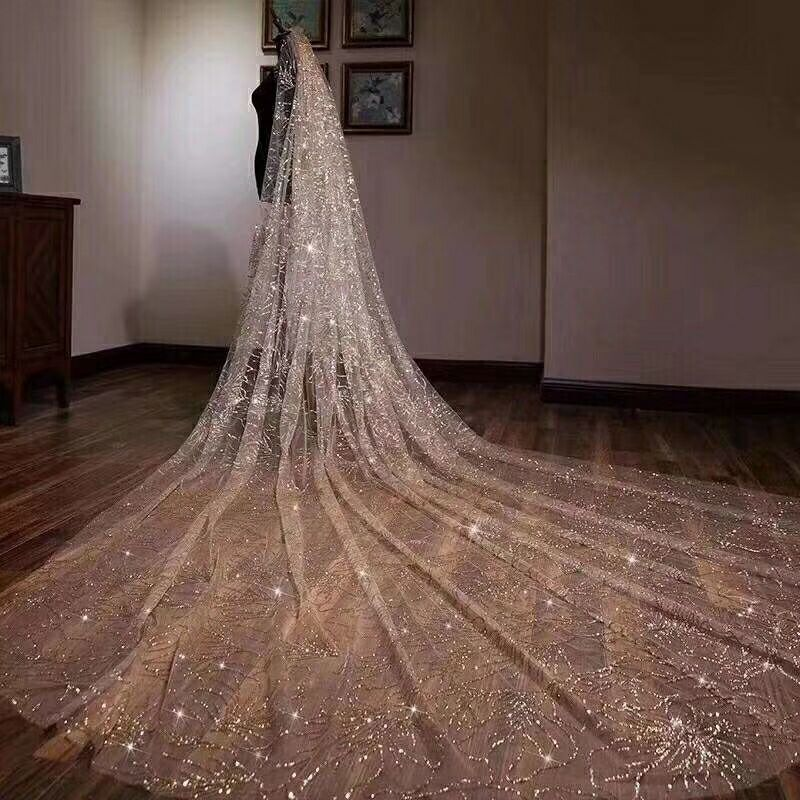 2019 velo dorado brillante estrella estrellada hermosa novia coreana casada cola larga de lujo velo alta calidad por encargo HC003 - 2